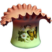 REDUCED Fenton 1982 made for member of FAGCA Rose Burmese Butterfly Hat L@@K