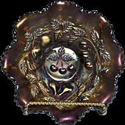 REDUCED Beautiful Mint 8 Ruffled Purple Amethyst Carnival Glass Bowl - Northwood 3 Fruit ...