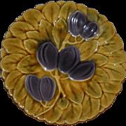 """Majolica Vintage 7 /12 inch French Fruit Sarreguemines Plate - hidden hanger """"Free Shippi"""