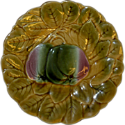 REDUCED French Majolica Yellow Fruit Sarreguemines 7.5 in Plate with raised petals / peppers