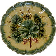 "REDUCED French Majolica 7 1/2 in diameter Raised Begonia Leaf Plate - ""Free Shipping"""