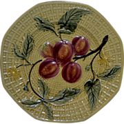 "REDUCED German Majolica (1900 - 1940) 7 .5 inch Octagonal Raised Cherries Plate ""Free Shi"