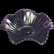 Northwood Vintage Smooth Ray Purple Amethsyt Carnival Six Ruffle Bowl