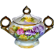 RS Prussia 19th Century gold handled Sugar Bowl with Lid