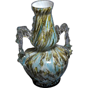 Antique 19th C Thomas Webb, England,True Vasa Murrhina, Blue and Brown mavered glass, Cased ..
