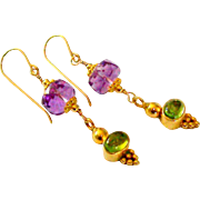 SOLD Amethyst & Peridot Earrings
