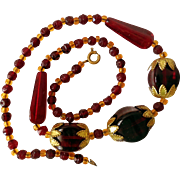 Vintage Ruby Red and Amber Glass Bead Necklace