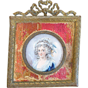Antique Miniature Portrait, Framed, Signed, Identified