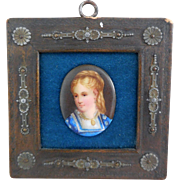 Antique Miniature Portrait on Porcelain, Framed