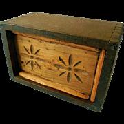 Large Primitive Wooden Butter Print, Press, Mold, Ca 1900