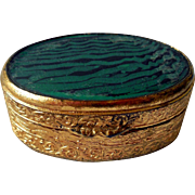 Vintage Art Glass and Gilt Metal Pill Box, Snuff Box, Italy