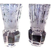 Pair Early Etched Crystal Shot Glasses, Bohemian, Moser