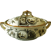 """Early Ironstone Tureen, Brown Transfer, Aesthetic """"Peray"""""""