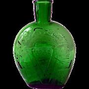 Vintage Green Glass Commemorative Flask, Gen MacArthur, 1942