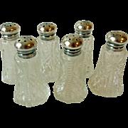 Vintage Salt & Pepper Shakers, Pressed Glass, Sterling Tops, 3 Pair