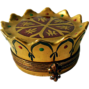 Vintage Limoges Trinket, Snuff Box, Crown by Chamart