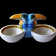 Vintage Hermes Toucans Double Open Salt, Pottery by Moustiers