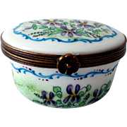 Vintage Limoges Hand-Painted Trinket Box, Violets
