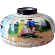 Antique Porcelain Inkwell, Hand-Painted, Dresden Style