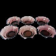 Vintage Amethyst Glass Nut Dishes, Set of 6