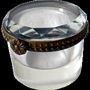 Vintage Cut Crystal Jar, Hinged, Trinket Box, Ink Well