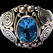 Vintage Sterling Silver Ring, Natural Blue Topaz, Artisan Design
