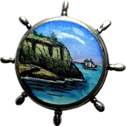 Vintage Sterling Silver Pin, Hand-Painted Maritime Scene