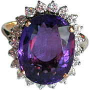 Vintage 18 Karat Gold Ring, Amethyst and Diamonds