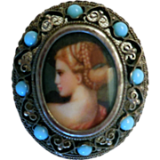 Vintage Hand-Painted Portrait in .800 Silver Brooch, with Turquoise