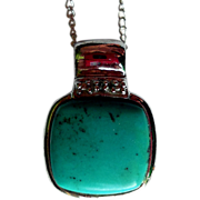 Vintage Sterling Silver and Turquoise Pendant with Sterling Chain