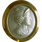 Antique Lava Cameo, Gold Filled Brooch
