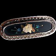 Antique Pietra Dura Brooch in Silver