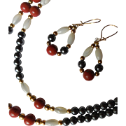 Vintage Necklace and Earrings, Hematite, Carnelian, Mother-of-Pearl