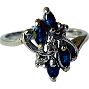 Vintage 14K White Gold Ring, Sapphires and Diamonds