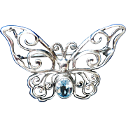 Vintage Sterling Silver Butterfly Pin, Set with Blue Topaz