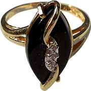 Vintage 14K Gold, Onyx and Diamond Estate Ring