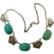 Vintage Egyptian Revival Scarab Choker with Peking Glass