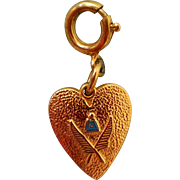 Vintage Gold-Plated Heart Charm, Possibly Academia