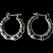 Vintage Retro Sterling Silver Hoop Earrings