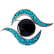 Extraordinary Modernist Sterling Silver, Lapis, Turquoise Brooch, Mexico