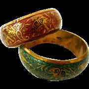 Pair Retro Bangle Bracelets, Colorful Enamel on Brass