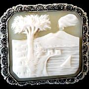 Antique Carved Shell Cameo, Mt. Vesuvius, .800 Silver