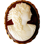 Early Red and White Glass Cameo Brooch, Late Victorian