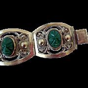 Vintage Sterling Silver Bracelet, Green Onyx, Far Fan, Mexico