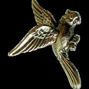 Vintage Large Sterling Silver Brooch, Parrot, 1920s