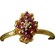 Estate Cocktail Ring, 14K Gold, Rubies and Diamond, SBT