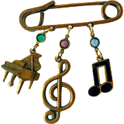 """Vintage Scarf Pin, """"Safety Pin"""" with Musical Charms"""