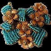 Fabulous Mid-Century Beaded Brooch