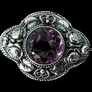 Victorian Amethyst and .800 Silver Brooch