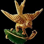 Vintage Estate 14K Gold, Jade, Ruby Brooch, Bird on Leaf
